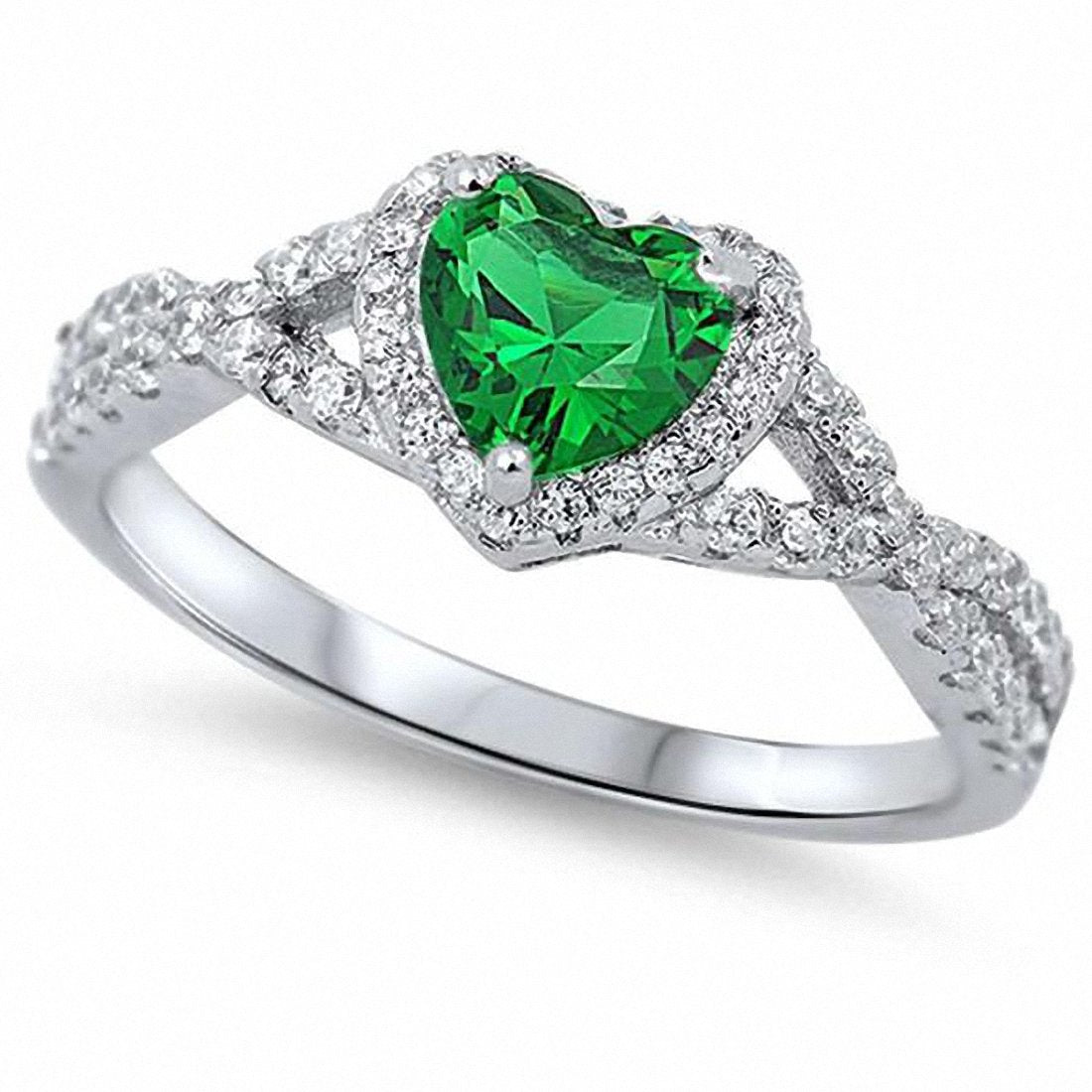Halo Infinity Shank Heart Ring Round Simulated Green Emerald CZ 925 Sterling Silver