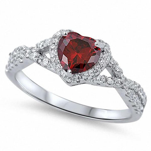 Halo Infinity Shank Heart Ring Simulated Garnet Round Clear CZ 925 Sterling Silver