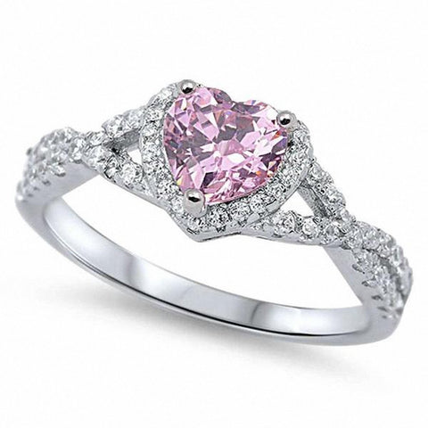 Halo Infinity Shank Heart Ring Simulated Pink Round Clear CZ 925 Sterling Silver