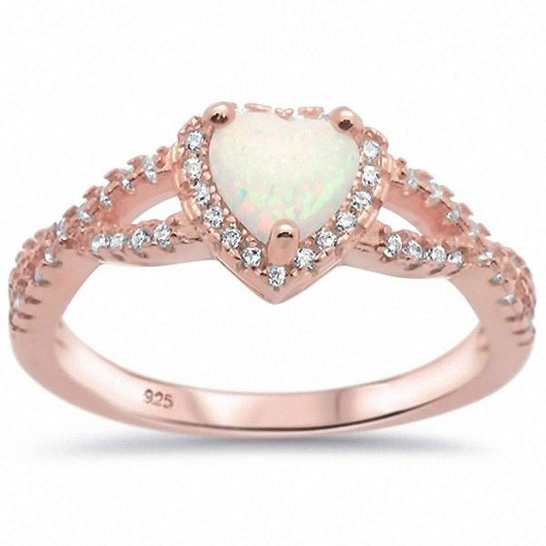Halo Infinity Shank Heart Ring Rose Tone, Lab Created White Opal 925 Sterling Silver