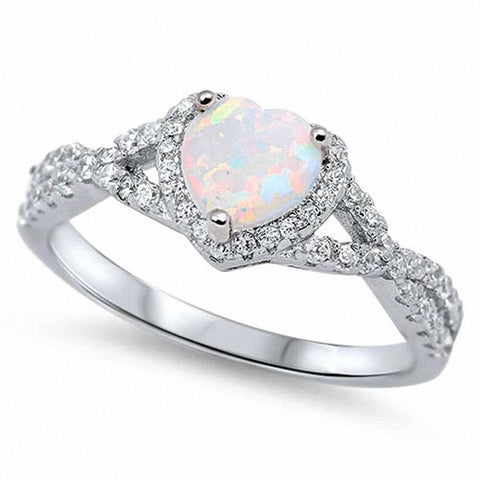 Halo Infinity Shank Heart Ring Created White Opal Round Clear CZ 925 Sterling Silver