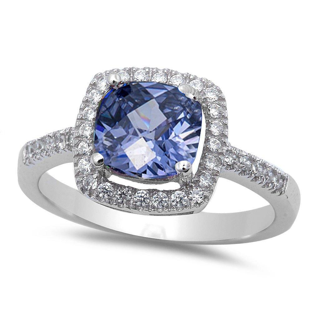 Solitaire Wedding Engagement Ring Simulated Tanzanite CZ 925 Sterling Silver