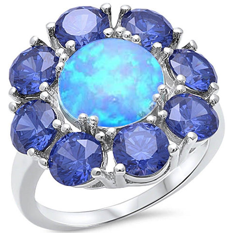 Gorgeous Blue Fire Opal & Tanzanite Flower .925 Sterling Silver Ring Sizes 5-10