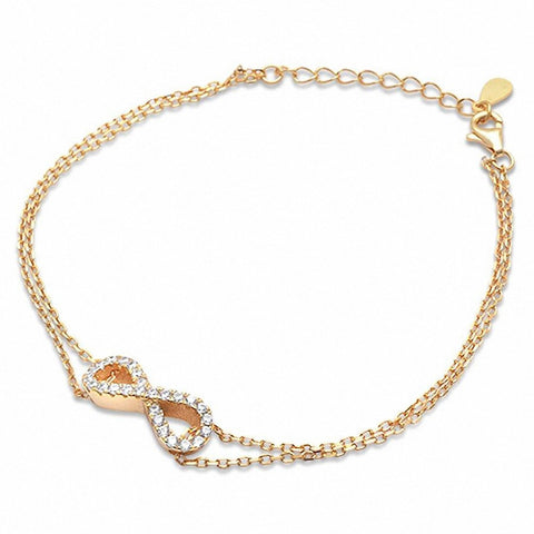 Yellow Gold Plated Cz Infinity .925 Sterling Silver Bracelet