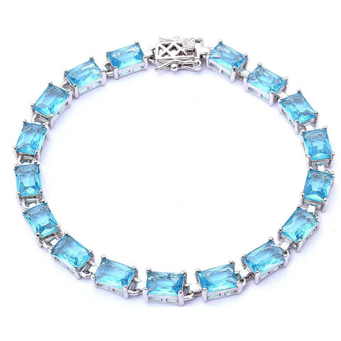 17.50ct Radiant Cut Aquamarine .925 Sterling Silver Bracelet 7 1/4""
