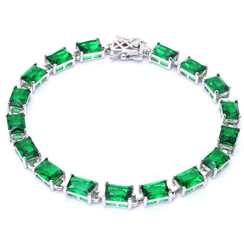 17.50ct Radiant Cut Emerald .925 Sterling Silver Bracelet 7 1/4""