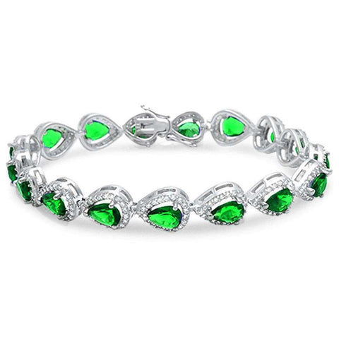 Pear Shape Emerald & Cz .925 Sterling Silver Bracelet