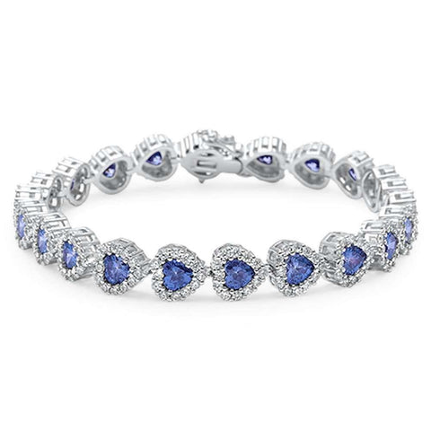 Tanzanite & Cz Heart .925 Sterling Silver Bracelet