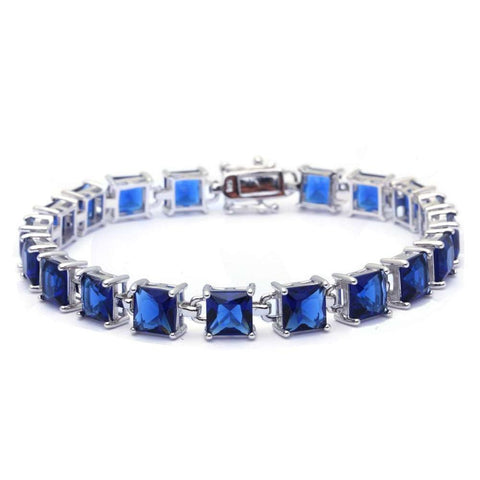 24CT Princess Cut Blue Sapphire .925 Sterling Silver Bracelet
