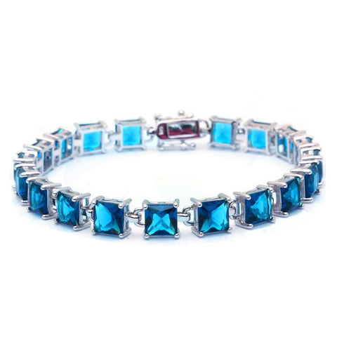 24CT Princess Cut Elegant Blue Topaz .925 Sterling Silver Bracelet