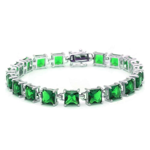 24CT Princess Cut Green Emerald .925 Sterling Silver Bracelet