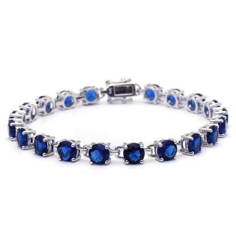 16.5CT Round Blue Sapphire .925 Sterling Silver Bracelet