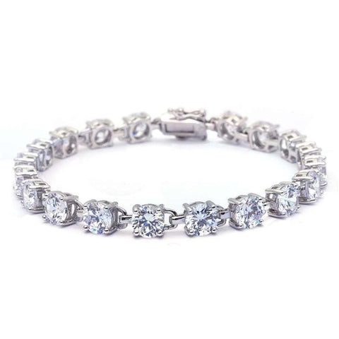 16.5CT Round Fine Cubic Zirconia .925 Sterling Silver Bracelet