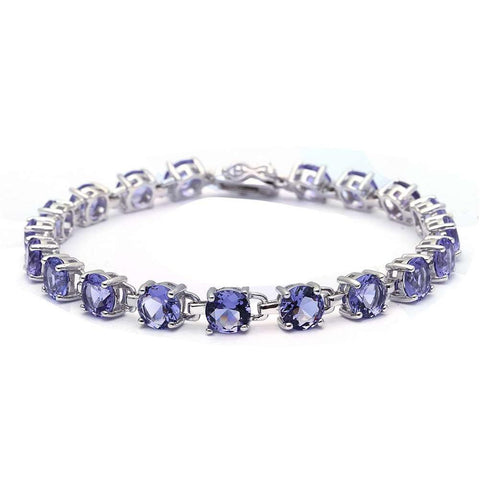 16.5CT Round Tanzanite .925 Sterling Silver Bracelet