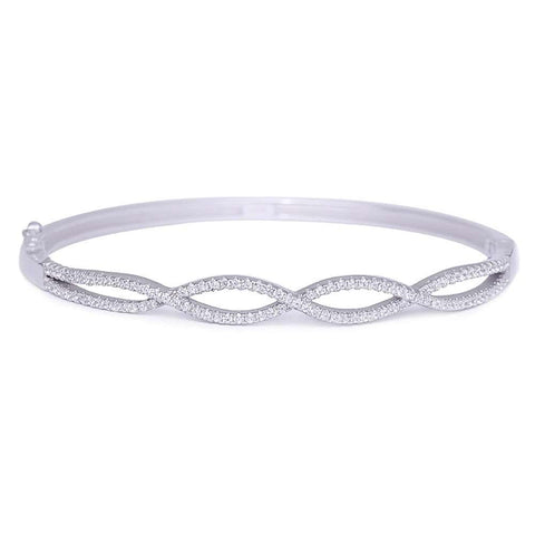 Fine Cubic Zirconia .925 Sterling Silver Bangle Bracelet