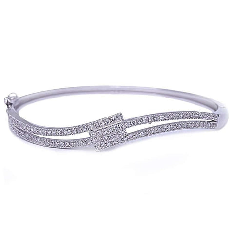 Micro Pave Cubic Zirconia .925 Sterling Silver Bangle Bracelet