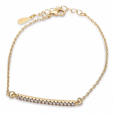 Yellow Gold Plated Micro Pave Cz Bar .925 Sterling Silver Bracelet