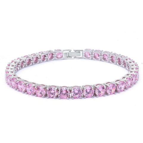 14.5CT Round Pink Cz .925 Sterling Silver Bracelet