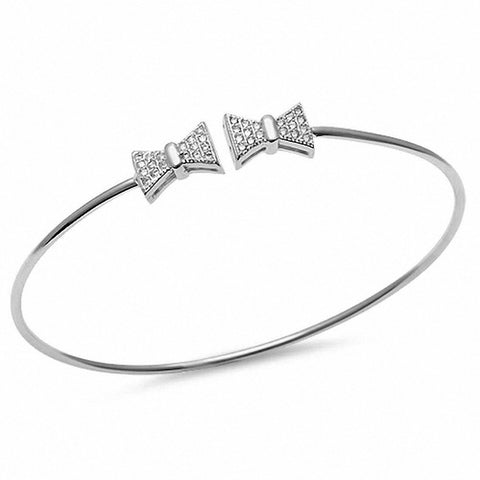 Micro Pave Cz Bow Tie .925 Sterling Silver Adjustable Bracelet