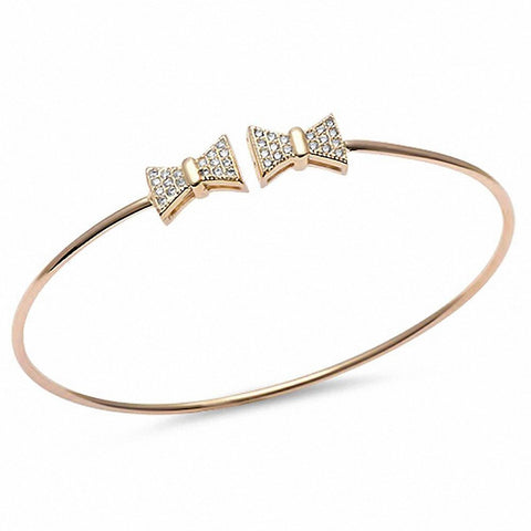 Yellow Gold Plated Micro Pave Cz Bow Tie .925 Sterling Silver Adjustable Bracelet