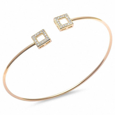 Yellow Gold Plated Pave Cz Square .925 Sterling Silver Adjustable Bracelet