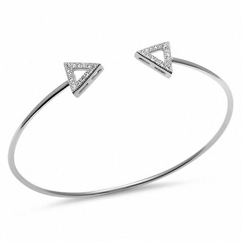 Micro Pave Cz Triangle Arrow .925 Sterling Silver Adjustable Bracelet