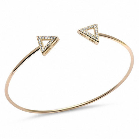 Yellow Gold Plated Cz Triangle Arrow .925 Sterling Silver Adjustable Bracelet