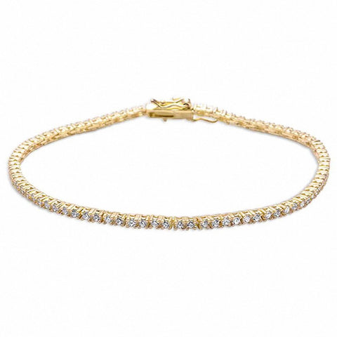 Yellow Gold Plated 4 prong Tennis Cz  .925 Sterling Silver Bracelet