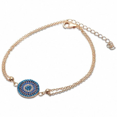 Yellow Gold Plated Nano Turquoise, Cz, Sapphire .925 Sterling Silver Bracelet