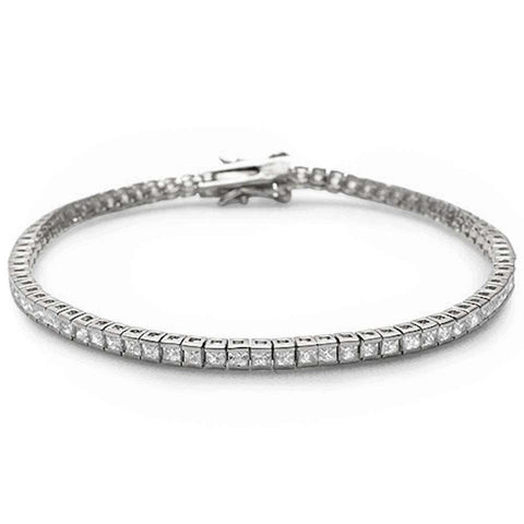 Wedding Tennis Bracelet Invisible Princess Cut 2mm Cubic Zirconia 925 Sterling Silver Choose Color