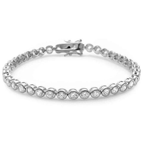 Wedding Tennis Bracelet Round 3mm Cubic Zirconia Half Bezel 925 Sterling Silver Choose Color