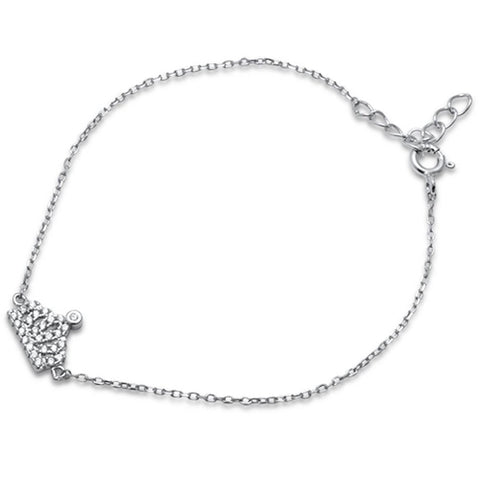 Dainty Crown Bracelet Round Pave Cubic Zirconia 925 Sterling Silver