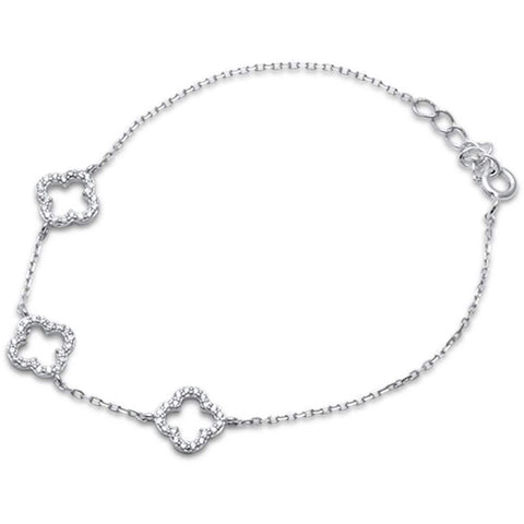 Fashion 3 Clover Leaf Bracelet 925 Sterling Silver Round Cubic Zirconia