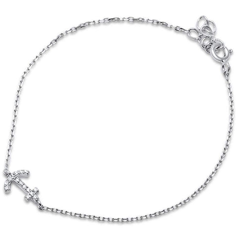 Fashion Dainty Sideways Anchor Bracelet Round Cubic Zirconia 925 Sterling Silver