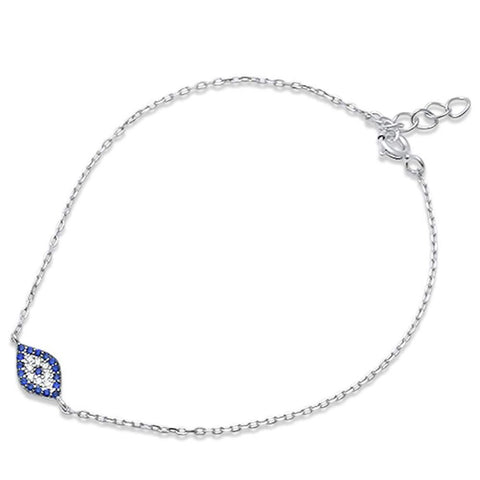 Evil Eye Bracelet 925 Sterling Silver Round Simulated Blue Sapphire