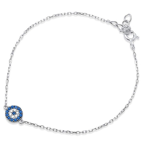 Evil Eye Bracelet 925 Sterling Silver Round Simulated Nano Turquoise
