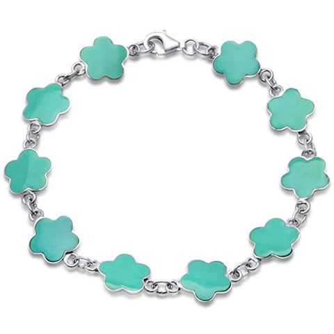 Flower Bracelet Simulated Stone 925 Sterling Silver