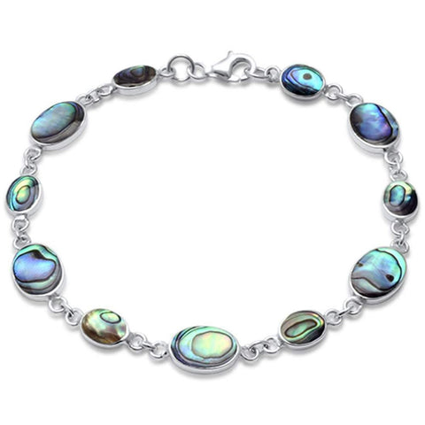 Oval Round Simulated Stone Bracelet 925 Sterling Silver