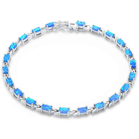 Tennis Bracelet Oval Lab Created Opal 925 Sterling Silver Choose Color