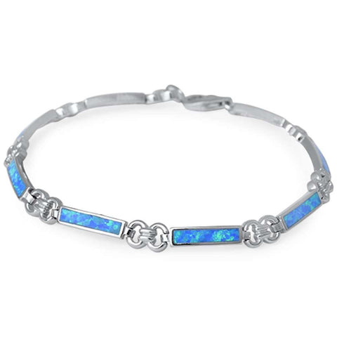 Bar Blue Opal .925 Sterling Silver Bracelet