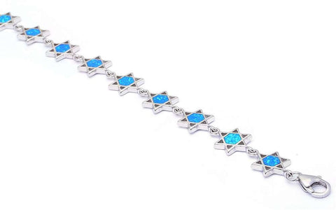 Blue Opal Star of David .925 Sterling Silver Bracelets