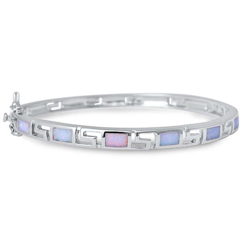 White Opal Greek Design .925 Sterling Silver Bangle