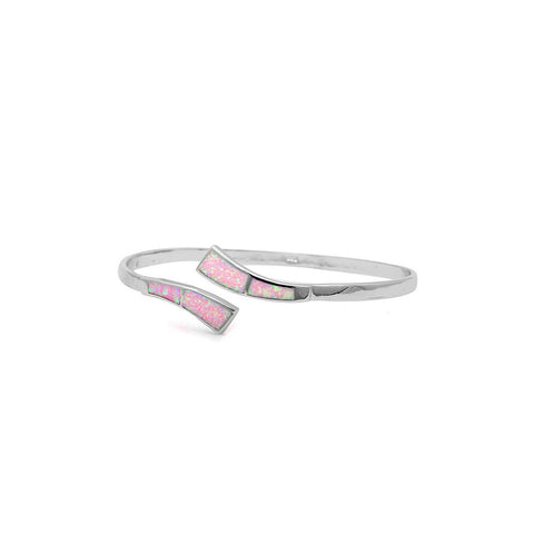 Bypass Wrap Adjustable Bangle Bracelet Lab Created Pink Opal 925 Sterling Silver