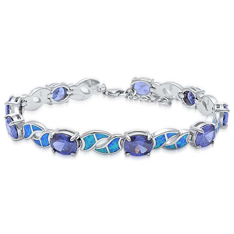 Oval Tanzanite & Blue Opal .925 Sterling Silver Bracelet