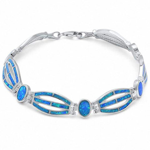 Fancy Created Blue Opal Bracelet 925 Sterling Silver