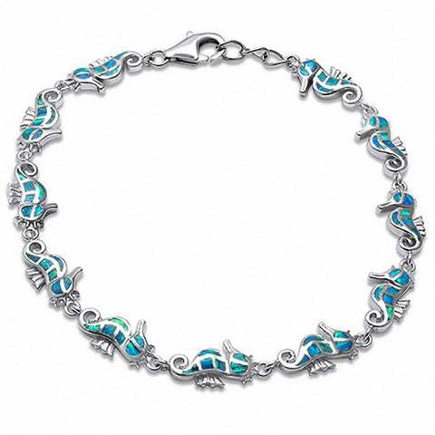 Seahorse Bracelet Created Opal 925 Sterling Silver