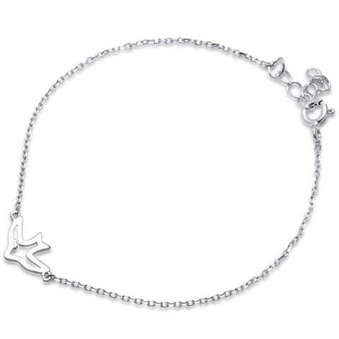 "Fashion Plain Bird Bracelet 925 Sterling Silver 6""+1"" Extension"