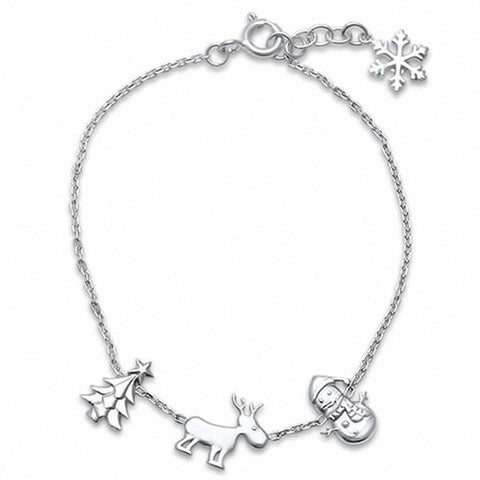 Plain  Christmas Charm Bracelet 925 Sterling Silver Choose Color