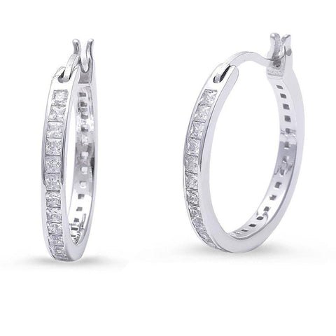 20mm Round Hoop Earrings Princess Cut Square Invisible Cubic Zirconia 925 Sterling Silver
