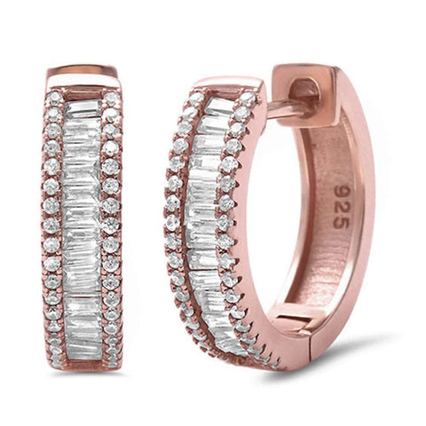 Half Eternity Hoop Earrings Round Baguette Cubic Zirconia 925 Sterling Silver Choose Color
